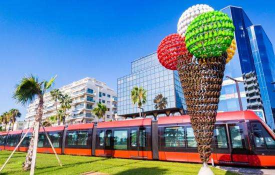 New: the tram outside the hotel makes exploring Nice a breeze!